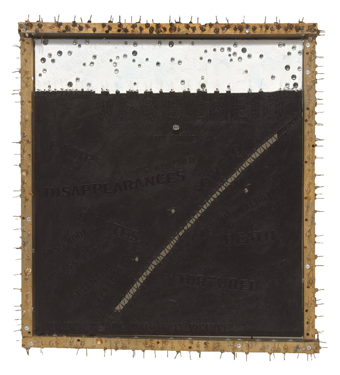 A mixed media artwork depicting apartheid in South Africa. The canvas is split into a black area and a white area, with each section containing various words in vinyl tape. There is a wooden frame around the plaster with nails protruding out from it.